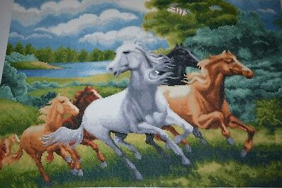 Beautiful 104 x 72cm Completed Horses Gallping Canvas Fine Stitching Never Used