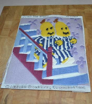 Vintage 1996 Bananas in Pyjamas Down the Stairs Completed Longstitch 19 x 23cm