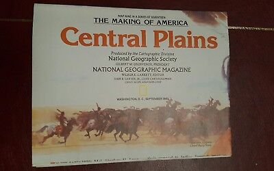 National Geographic Mag -supplement map central plains usa    - free post