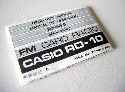 User Manual Casio Vintage 1980's FM Credit Card Size Radio RD-10 RD10