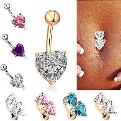 Rhinestone Crystal Heart Barbells Navel Belly Bar Button Ring Body Piercing