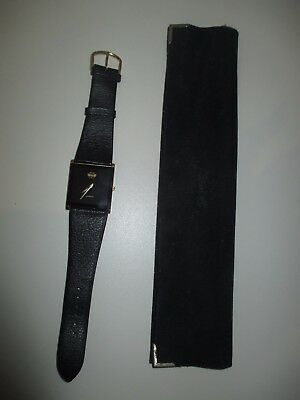 Mens Silver Swan Dress Watch Black with Gold Trim Square Face Black Leather Band