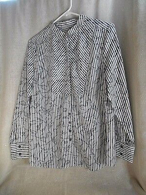 """Christopher & Banks"" gray/white striped standup collar, bib front LS shirt,Med."