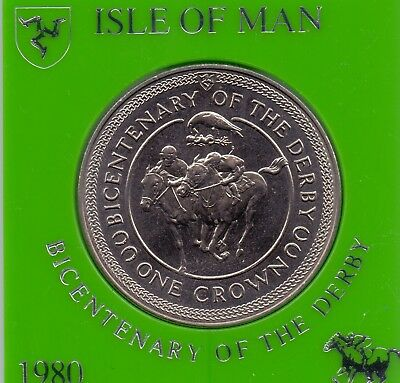1 COIN ISLE OF MAN 1 CROWN 1980 BICENTENARY OF DERBY UNC (in original holder)