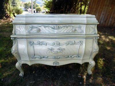 Vintage Reliable Furniture Co White Solid Wood French Bombe Server Chest