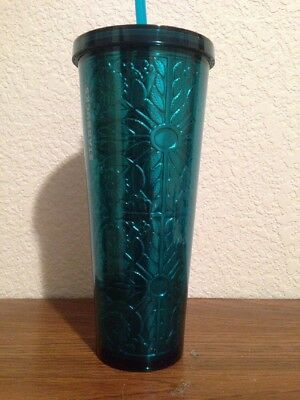 Brand New 2017 Starbucks Aqua Embossed Cold Cup Venti 24fl.oz.