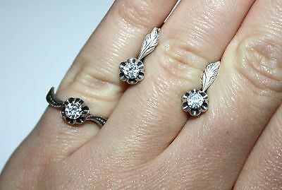 Awesome Soviet Set Earrings Ring SILVER 925 stamp USSR