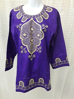 Fashion Women's African Dashiki Tunic Tops Embrodried Gold Accents Sz One Size