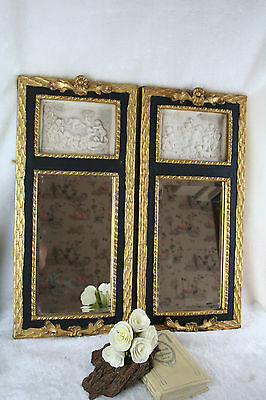 Exclusive PAIR gilted wood mirror marble look stone putti scene groups English