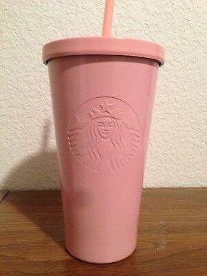 New 2017 Starbucks Matte Pink Stainless Steel 16Oz Grande Tumbler Cold Cup