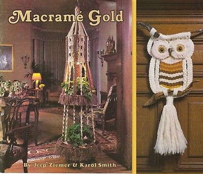 "Vintage 1977 Macrame Pattern Book ""macrame Gold""  16 Projects"