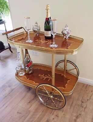 Vintage French/italian Style Inlaid Cocktail/drink/tea Trolley/cart/table