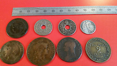 Eight French Vintage and Antique Silver and Copper Coins from 1853-1923