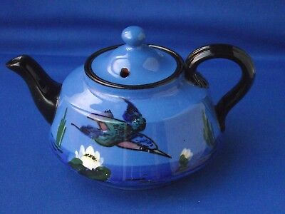 Watcombe Torquay Ware Pottery Kingfisher Bird Lilly Small Teapot Tea for 1 or 2