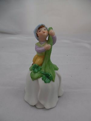 Vintage Ceramic Flower Shaped Bell with Pixie Elf and Four Leaf Clovers by Avon