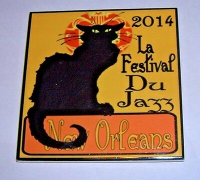 New Orleans Jazz Festival 2014 Art Deco Style Cat Ceramic Tile Coaster