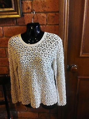AS NEW!VINTAGE:70s HAND CROCHETED 100% Cotton Women's Long SleevedTop/Jumper(M)