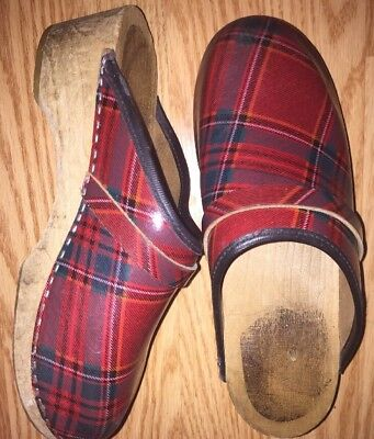Swedish Clogs Plaid Red Christmas Size 37 Leather Vintage Wooden Soles Holiday