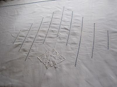 Beautiful Antique French PURE LINEN  SHEET with  MONO & LADDERWORK -Organic!