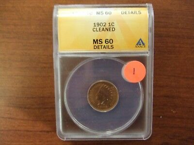 1902 Indian Head Cent ~ Uncirculated ~ ANACS MS 60 Details Cleaned