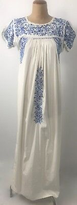 Vintage OAXACAN Mexican white COTTON blue EMBROIDERED Maxi dress 8 10 12