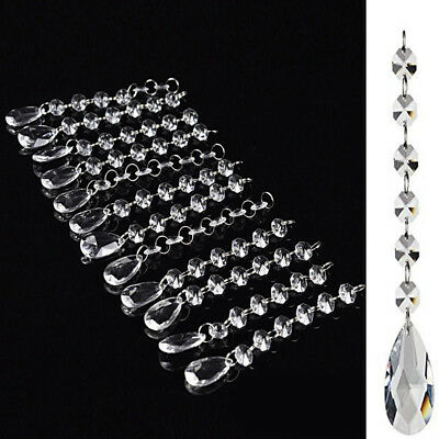 Ceiling Light Chandeliers Acrylic Crystal Lamp Shade Hanging Drops Droplet 24pc