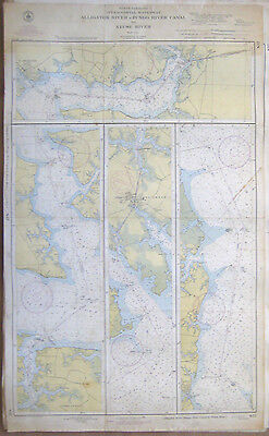 "Vtg 1943 C&GS Nautical CHART #832 INTRACOASTAL WATERWAY NC 24"" x 39"""