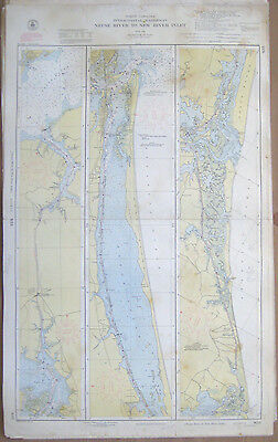 "Vtg 1951 C&GS Nautical CHART #833 INTRACOASTAL WATERWAY NC 24"" x 39"""