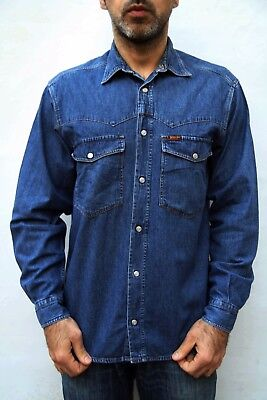 Rifle Denim Blue SHIRT Vintage Jeans 80s Casual Western S / M Mens GOOD