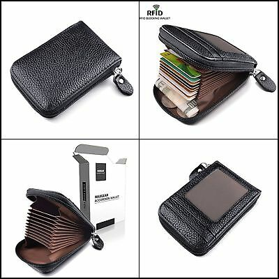 Men Wallet Credit Card Holder Genuine Leather Case RFID Blocking Organizer Black