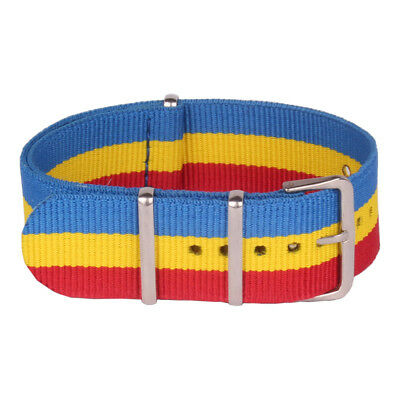 22mm Stripes Yellow/Blue/Red Nylon Watch Nato Strap Wristwatch Band One piece
