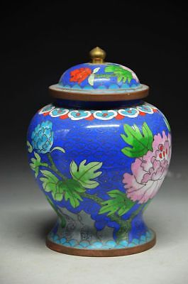 Cloisonne Copper Enamel Decorative Jar Pot,Subshrubby peony flower Pattern zrf