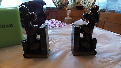 Vintage-Pair-of-French-Poodle-Porcelain-Bookends-with-Pencil-pen-Holders-Japan