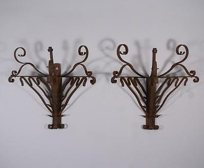 *Large Pair of French Antique Wrought Iron Primitive Wall Sconces
