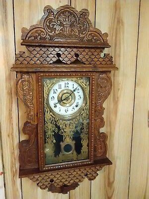 Antique Welch hanging Gingerbread wall clock