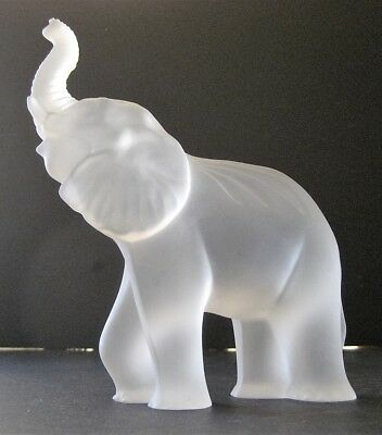 """7"""" Waterford Crystal Elephant Figurine Frosted Glass Large Trunk Up Irish Scarce"""