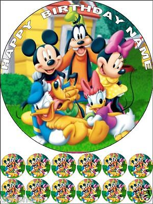 """Edible Mickey/minnie Mouse Round 7,5""""& 12 Cupcakes 1,2"""" Birthday Cake Toppers"""