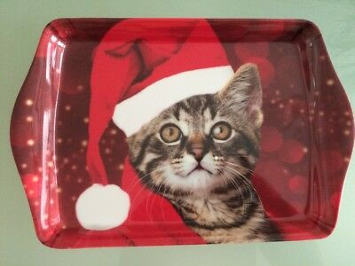 Santa xmas Hat Cat small Melamine Tea biscuits sandwich Snack Food Serving Tray