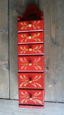 Vintage 1970's Red Tea WALL HANGING SPICE TEA CABINET APOTHECARY 6 DRAWER