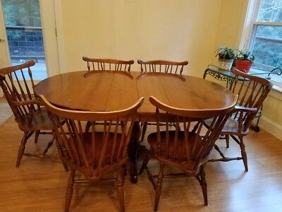 Antique Maple Dining Table with matching, Windsor chairs