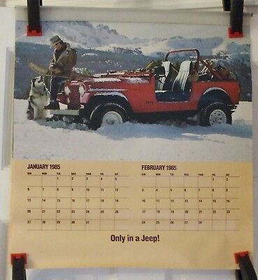 """Original 1985 Jeep Dealer Calendar Unused Only In A Jeep 20""""x 18"""""""