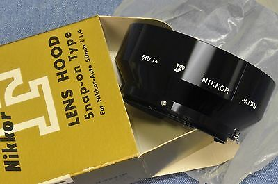 c. Mid 1960's-Early 70's Vintage, NEW IN BOX Nikon NIKKOR GOTHIC F 50mm 1.4 HOOD