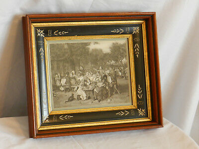 Antique EAST LAKE Spoon Carved Picture Frame Victorian Walnut & Ebony 8 X 10