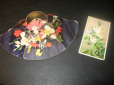 Vintage Fold Out Hand Fan Postcard Jackson Clare MI MICH Flowers Shoes Grocery