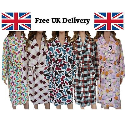 Ladies New Soft Fleece Dressing Gown Bath Robe Pockets Patterns Christmas gift