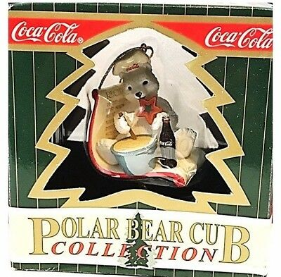 Vintage Coca Cola Christmas Ornament, Polar Bear Cub Collection Baking Bear 1997