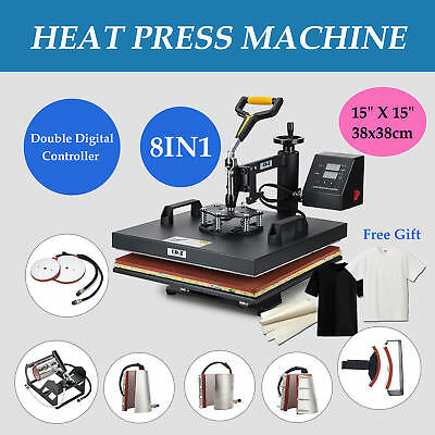 "8In1 15""x15"" Digital Heat Press Machine Transfer Diy Printer Platen Steel Frame"