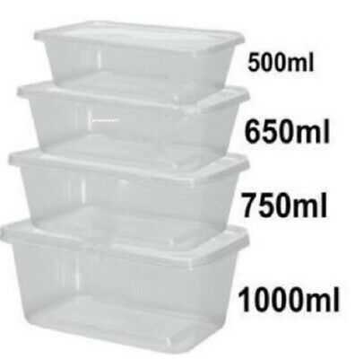 Plastic Containers Tubs Clear With Lids Microwave Food Safe Takeaway ALL SIZES