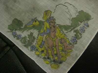 "Children's ""Little Girl riding a Horse"" Vintage Handkerchief. Pretty!*"