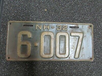 1932 New Hampshire NH License Plate 6007